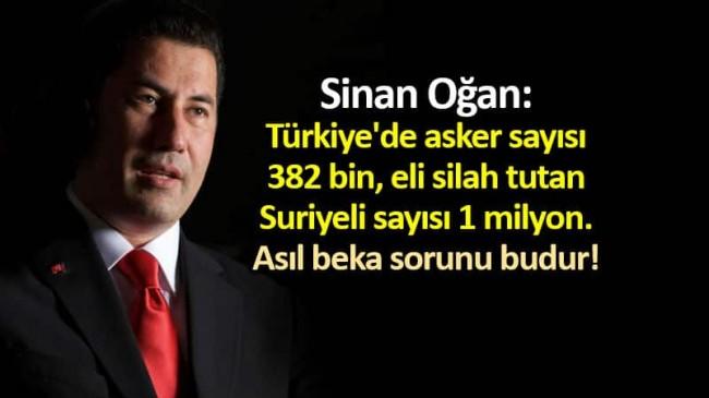 Sinan Oğan: Türkiye'de asker sayısı 382 bin, eli silah tutan Suriyeli sayısı 1 milyon !